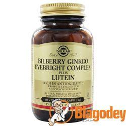 Солгар Комплекс черники, гинкго для зрения и лютеин (Solgar, Bilberry Ginkgo Eyebright Complex Plus Lutein) купить, цена, отзывы