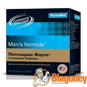 Man's Formula (Менс формула) Потенциал форте усиленная форма таблетки 1200мг, 15 шт. Купить, цена, отзывы.