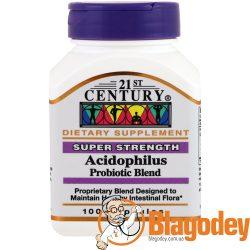 21st Century, Пробиотическая смесь бактерий Acidophilus, 100 кап. Купить, цена, отзывы.