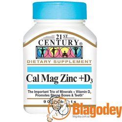 21st Century, Cal Mag Zinc + D3 (Кальций, магний, цинк + D3), 90 таб. Купить, цена, отзывы.