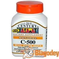 21st Century, Natural C-500 (Витамин С с шиповником), 110 таб. Купить, цена, отзывы.