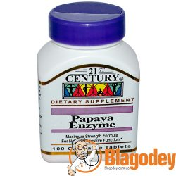 21st Century, Papaya Enzyme (Ферменты папайи), 100 жев. таб. Купить, цена, отзывы.